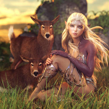 Little Deer, Fantasy Elf Woman Art, Daz Studio by shibashake