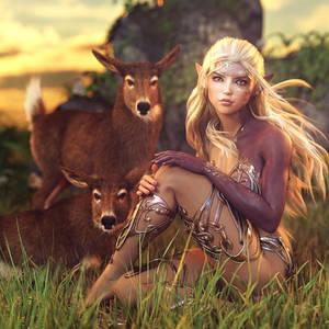 Little Deer, Fantasy Elf Woman Art, Daz Studio