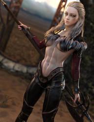 Desert Warrior, Fantasy Barbarian Woman Art, Iray
