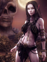 Dark Elf, Fantasy Woman Art, Daz Studio Iray Image by shibashake