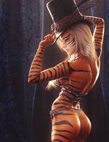 Leave Your Hat On, Fantasy Tiger Girl Pin-Up Art