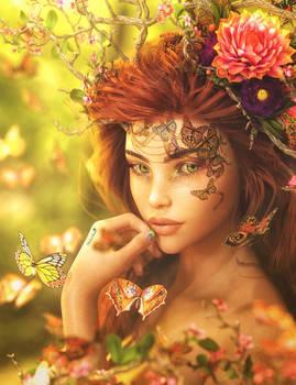 Summer, Red-Head Fantasy Girl Portrait Art, Iray