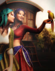 Gypsy Girls, Fantasy Women Art, Daz Studio Image by shibashake
