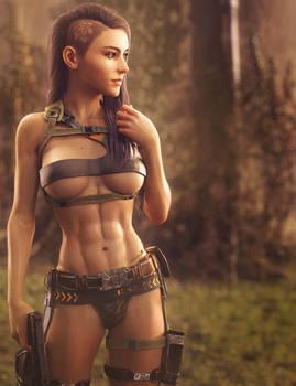 Badass Girl with Gun, Fantasy Woman Art, DS Iray