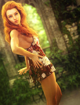 Red Head Girl Pin-Up, Fantasy Woman Art, DS Iray by shibashake