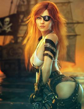 Red-Head Pirate Girl, Fantasy Woman Art,Daz Studio