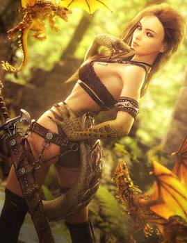 Kindred, Fantasy Dragon Woman Art, Daz Studio Iray