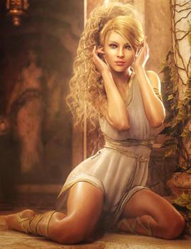 Blonde and Beautiful, Greek Fantasy Woman Iray Art