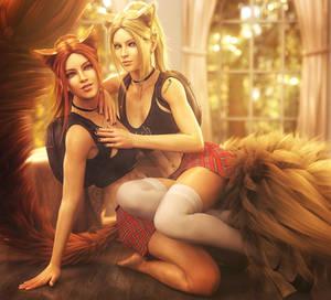 Red or Blonde?, Fantasy Cat Girls Art, Daz Studio