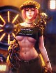 The Mechanic, Steampunk Fantasy Woman Art, Iray