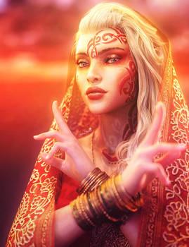 Exotic Beauty, Blonde Fantasy Woman Portrait Art