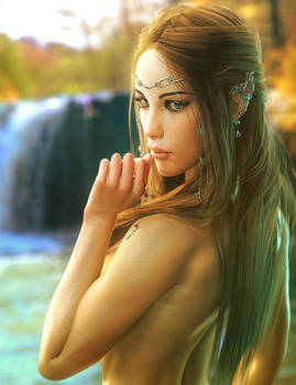 Waterfall, Fantasy Elf Woman Art, Daz Studio Iray