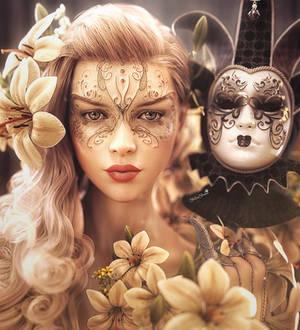 Masked, Fantasy Woman Portrait Art, Daz Studio
