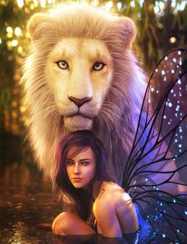 White Lion, Fantasy Fairy Woman Art, Daz Studio