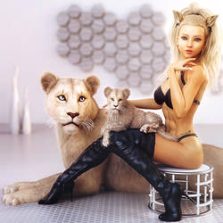 White Cats, Blonde Cat Girl Fantasy Art,Daz Studio