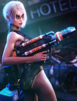 Bad-Ass Sci-Fi Girl, Fantasy Woman Art, Daz Studio