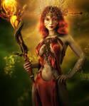 Red Sorceress, Fantasy Magic Woman Art, Daz Studio