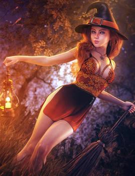 Happy Halloween!, Witch Woman Fantasy Art, Iray