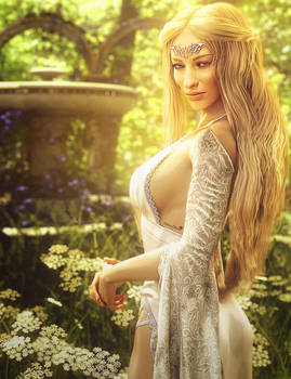White Queen, Blonde Fantasy Woman Art, Daz Studio