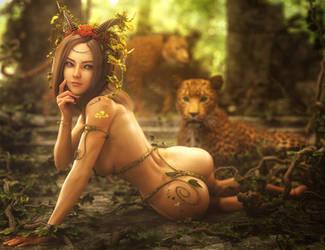 Jungle Girl, Fantasy Woman Art, Daz Studio Iray by shibashake
