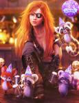 Happy New Year! Fantasy Pirate Woman Art, Iray