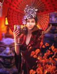Red, Asian Demon Woman Fantasy Art, Daz Studio
