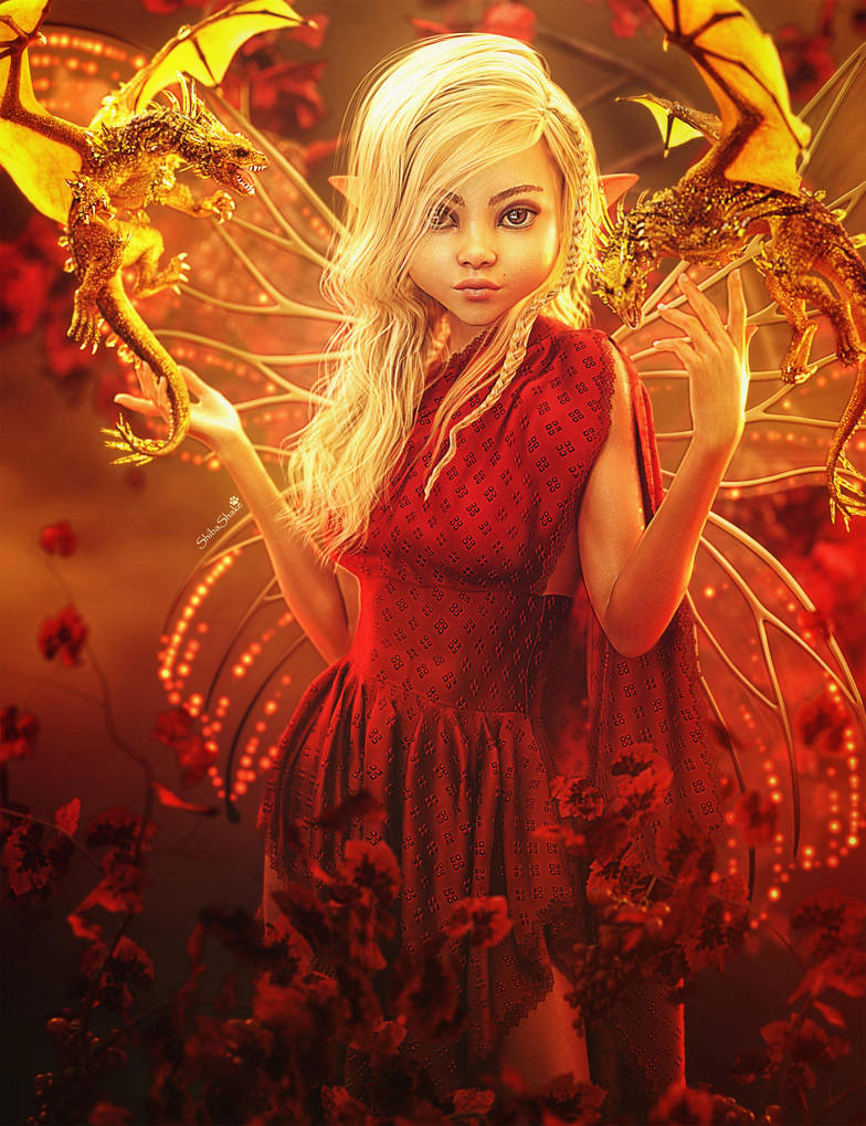 Golden Dragons, Fairy Fantasy Woman Art,Daz Studio