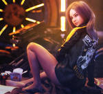 Biker Girl, Fantasy Woman Pin-Up Art, Daz Studio