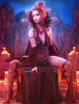 Red Countess, Fantasy Woman Art, Daz Studio Iray
