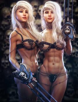 Twin Warriors, Fantasy Women Art, Daz Studio Iray