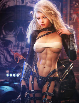 Blonde and Bad-Ass, Fantasy Woman Art, Daz Studio