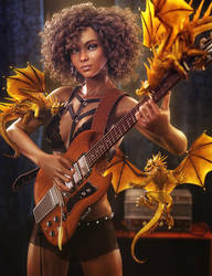 Jamming with Dragons, Fantasy Woman Art,Daz Studio