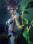 Under the Sea, Fantasy Mermaid Art,Daz Studio Iray