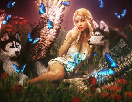 Guardian Angels, Blonde Fantasy Girl + Husky Dogs