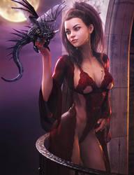 Moonlight Sonata, Fantasy Woman + Dragon Art, Iray