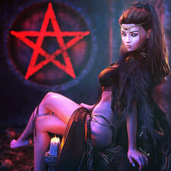 Gothic Girl Pin-Up, Fantasy Woman Art, Daz Studio
