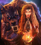 Beauty and the Beast, Fantasy Woman + Werewolf Art