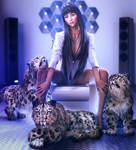 Snow Leopards, Cute Asian Girl Pin-Up Art, DS Iray