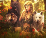 We Are Pack, Fantasy Woman + Wolves 3D-Art, Iray