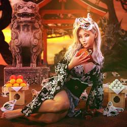 Masks, Woman in Kimono Fantasy Art, Daz Studio