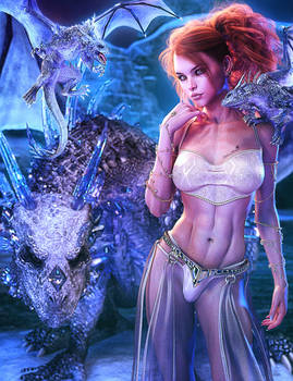 Lady of Dragons, Winter Fantasy Woman Art, DS Iray