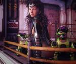 Robot Dogs, SciFi Fantasy Woman Art, Daz Studio
