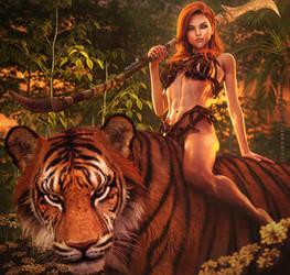 Tiger Rider, Fantasy Jungle Woman Art, Daz Studio