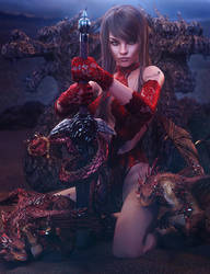 Red Dragons, Asian Girl with Sword Fantasy 3D-Art