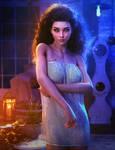 White Dress, Dark Haired Woman Fantasy 3D-Art,Iray