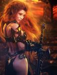Red-Head Warrior Girl Fantasy 3D-Art, Daz Studio