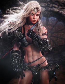 Tattooed Warrior Girl, Fantasy 3D-Art, Daz Studio