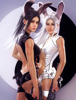 Bunny Girls Pin-Up, Fantasy Women 3D-Art, DS Iray