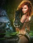 Red-Hair Warrior Girl Fantasy 3D-Art, Daz Studio