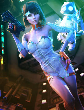Sci-Fi Girl and Robot Kitty, Daz Studio 3D-Art